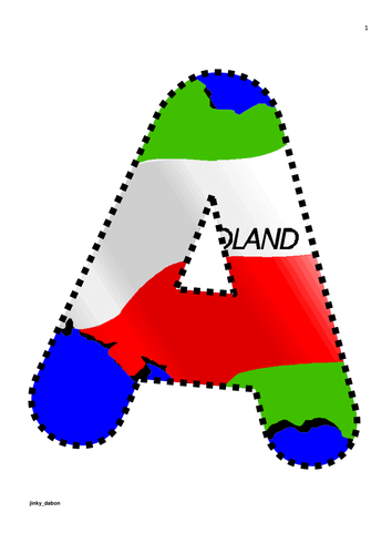 Poland Map and Flag Themed Alphabet and Numbers