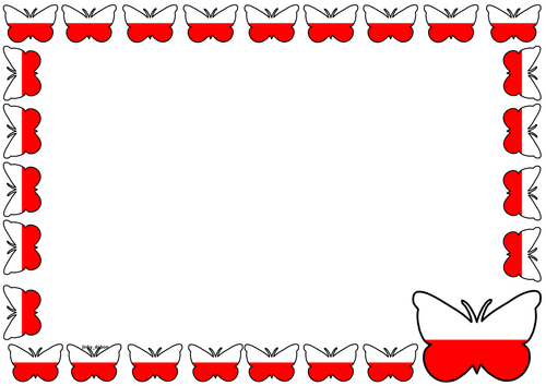 Poland Flag Themed Lined Paper and Pageborders