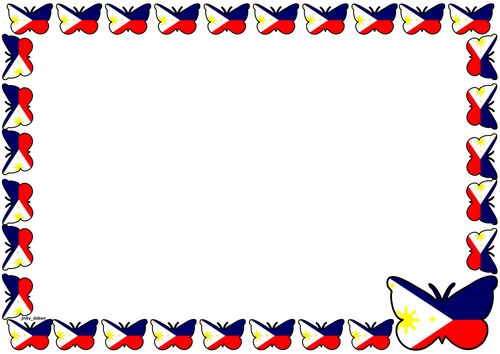 Philippine Flag Themed Lined Paper and Pageborders