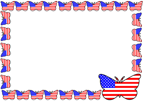 USA Flag Themed Lined Paper and Pageborders