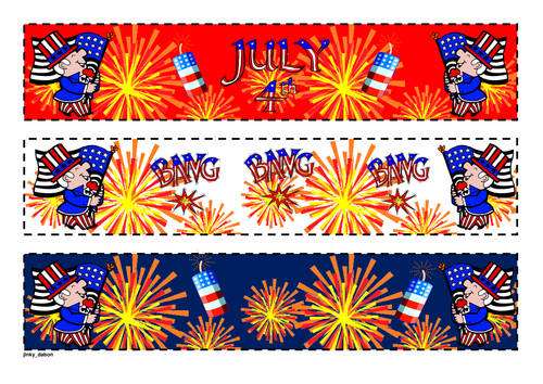 Independence Day Themed Cut-out Borders