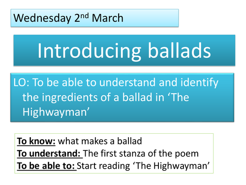 Introduction to 'The Highwayman'
