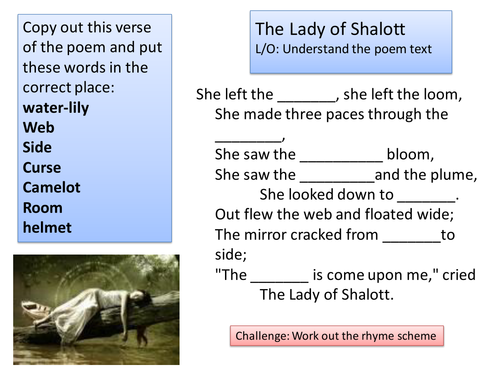 Lady of Shalott lesson 2