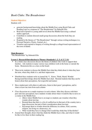 The Breadwinner Book Club lesson plans