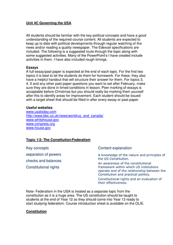 Scheme of work: UGoverning the USA