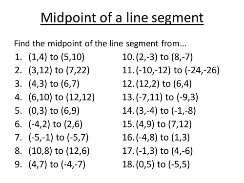 Midpoints of a line segment