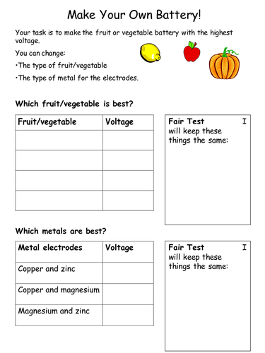 Fruit batteries investigation