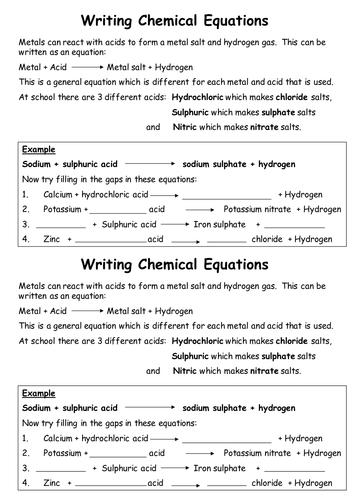Acid plus metal word equations