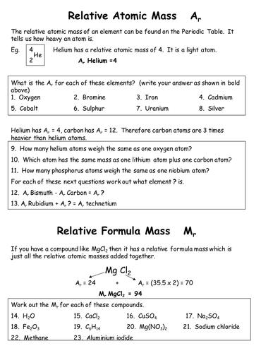 Atomic and formula mass