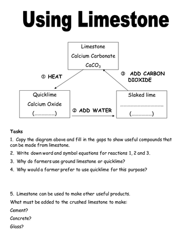 Limestone worksheet