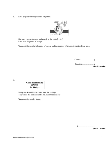 Ratio review Test