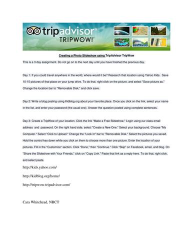 Creating a Photo Slideshow Using TripWow