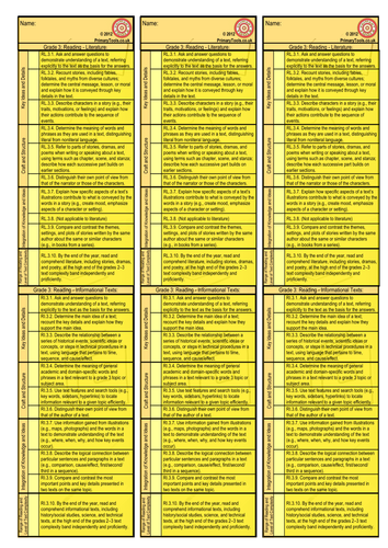 Reading Assessment Bookmarks Common Core Standards