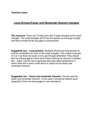 Long Division/Factor & Remainder theorem activity