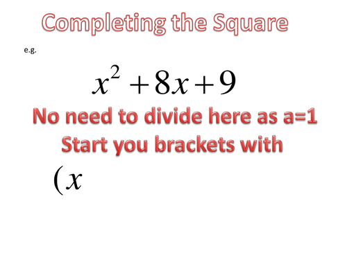 Completing the square presentation
