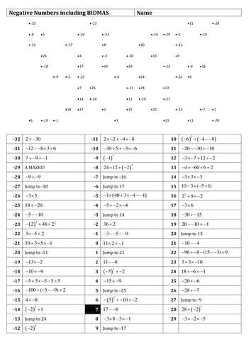 Negative numbers maze inc BIDMAS