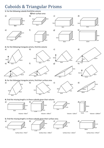 Volume Of Prisms Worksheet: Maths  Cuboids and Triangular Prisms by Tristanjones   Teaching    ,
