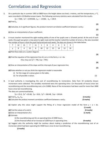 S1 HW Correlation & Regression
