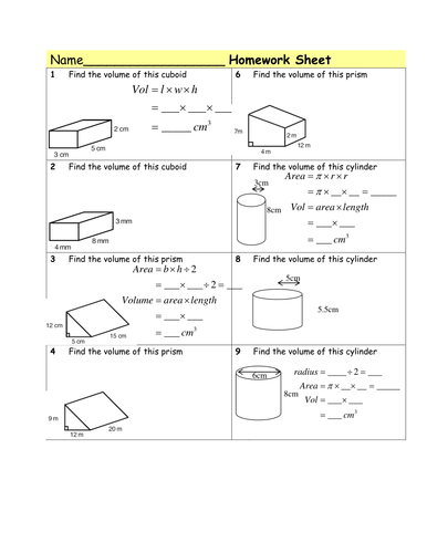 Homework Volume of Prisms & cylinders by Tristanjones - Teaching ...