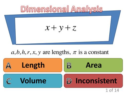 Dimensional Analysis wrap up