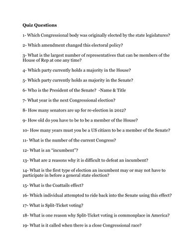 Congressional Elections Quiz