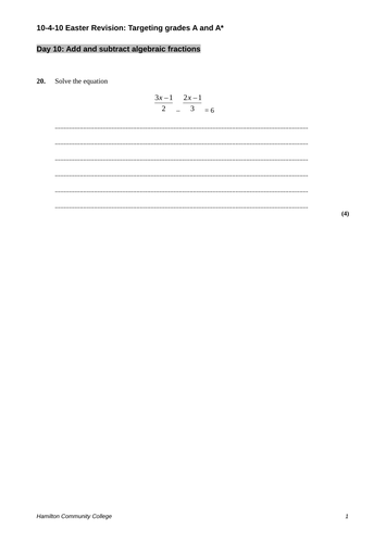 Algebraic Fractions review