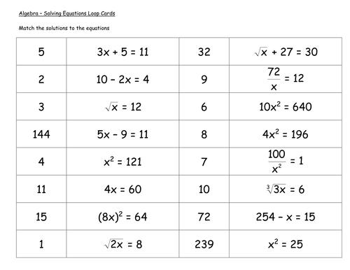 Loop Cards - Algebra Solving Equations