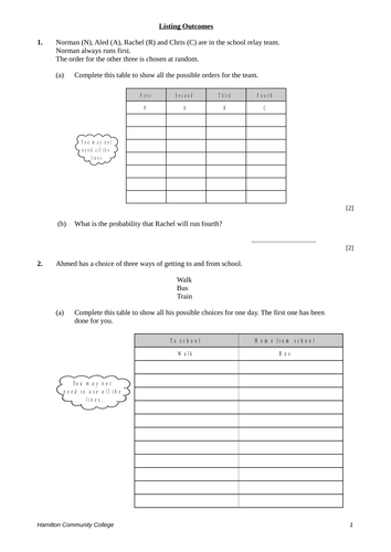 Listing Outcomes/Combinations