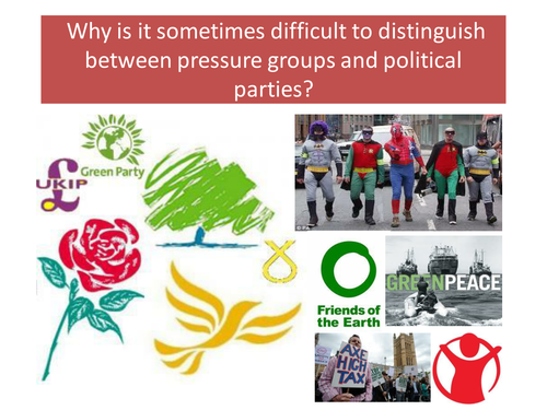 Distinguishing Pressure Groups & Political Parties