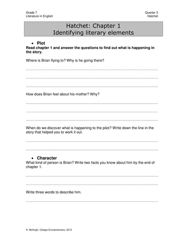 Hatchet guided reading questions