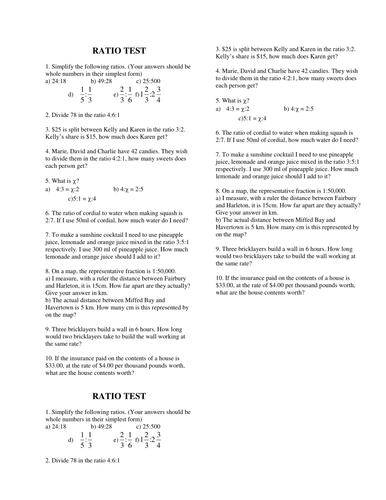 Test Handout on Ratio