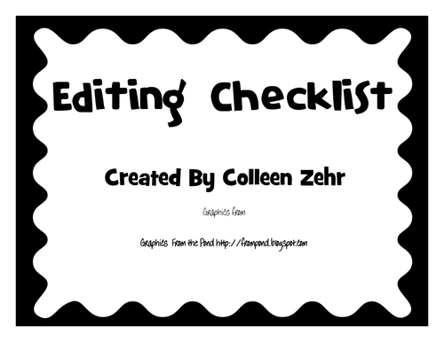 Editing Checklist Posters