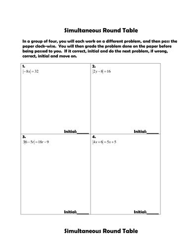 Simultaneous Round Table- Absolute Value Equations