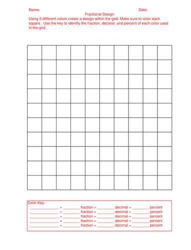 100 Grid Fraction, Decimal, Percent
