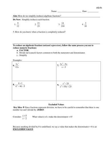 Rational Expressions/Algebraic Fractions