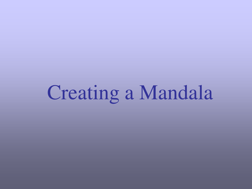 Creating a Mandala