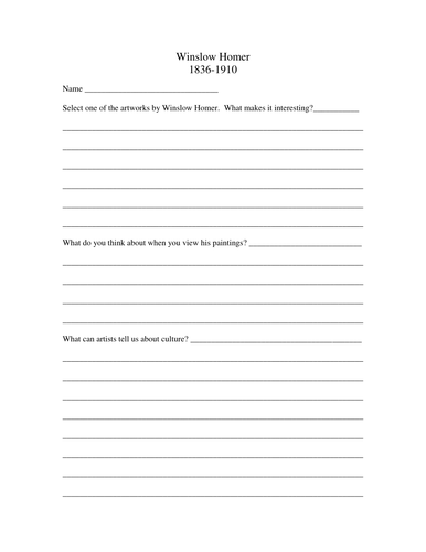 Winslow Homer: research template