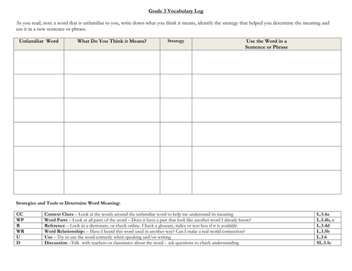 Vocabulary Log for learning new words: Grade 3