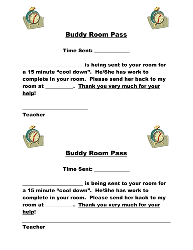 Buddy Room Pass as a Consequence
