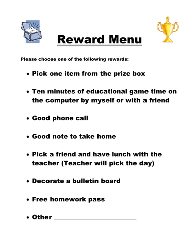 Reward Menu for Incentive System