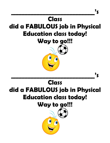 Physical Education award and feedback form