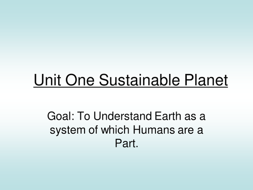 Sustainable Planet- ecological principles