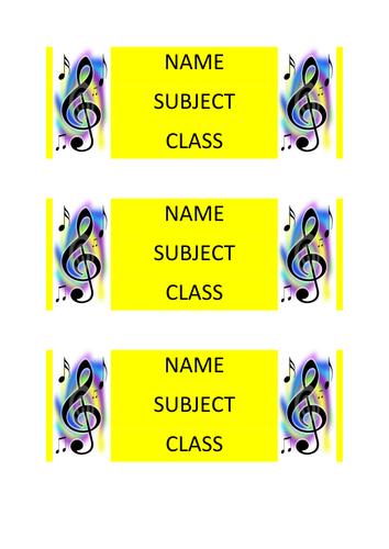 Music lesson book labels design 1