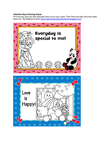 Valentine Day Coloring Cards