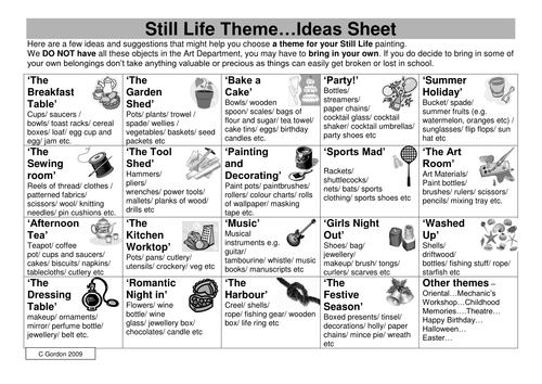 Still Life Inspiration Sheet