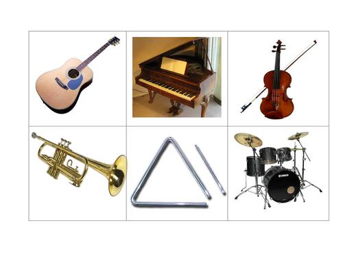 Musical instruments bingo boards x 8