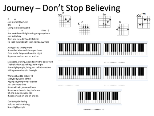 Journey Dont Stop Believing Easy Lead Sheet By Gisbo Teaching