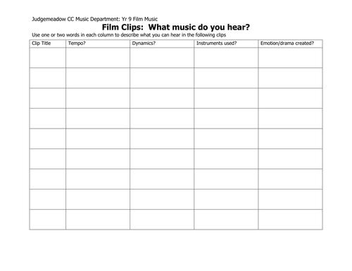 Film music listening grid
