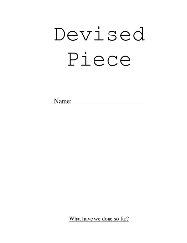Devising Booklet