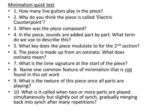 Minimalism Quick Test